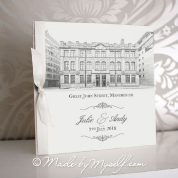 Great John Street Hotel Pocketfold Wedding Invitation - Includes RSVP & Guest Information
